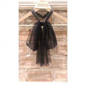 Black Tulle Bow and Leather Collar Necklace