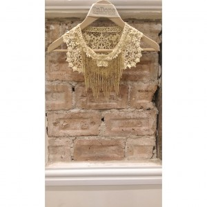 Antique Lace and Beaded Chandelier Fringe Collar