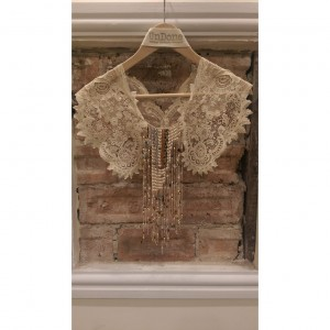 Antique Lace and Pearl Fringe Collar