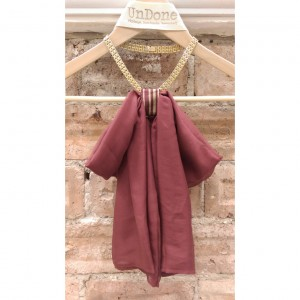 Burgundy Silk Chiffon Bow Collar Necklace