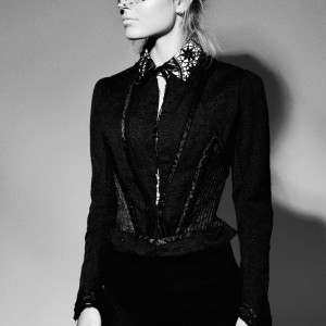 Charlie Black Crochet Lace Starched Collar